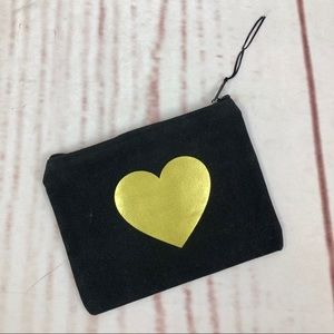 Black Pouch with Gold Heart